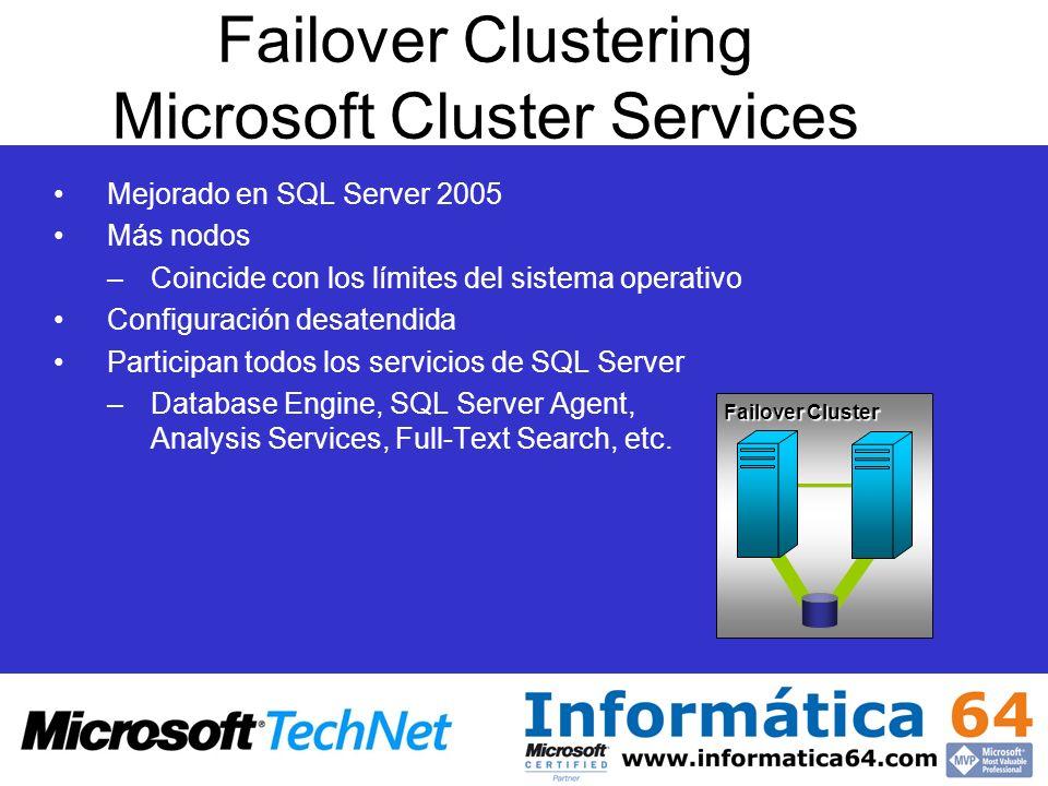 Mejorado en SQL Server 2005 Más nodos –Coincide con los límites del sistema operativo Configuración desatendida Participan todos los servicios de SQL