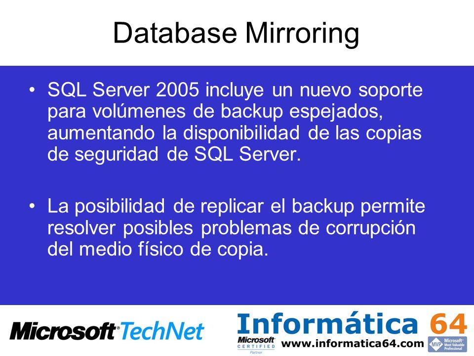 Database Mirroring SQL Server 2005 incluye un nuevo soporte para volúmenes de backup espejados, aumentando la disponibilidad de las copias de segurida