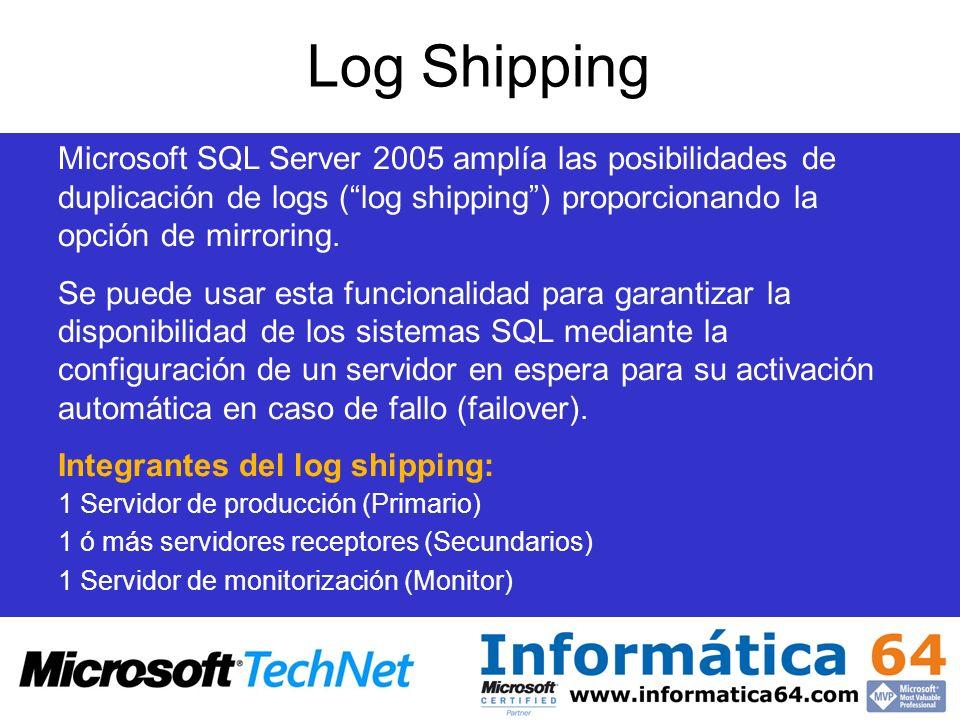 Log Shipping Microsoft SQL Server 2005 amplía las posibilidades de duplicación de logs (log shipping) proporcionando la opción de mirroring. Se puede