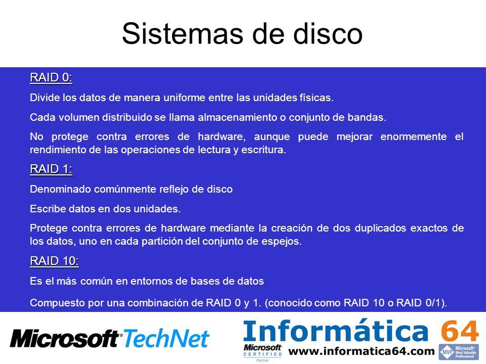 Sistemas de disco RAID 0: Divide los datos de manera uniforme entre las unidades físicas. Cada volumen distribuido se llama almacenamiento o conjunto