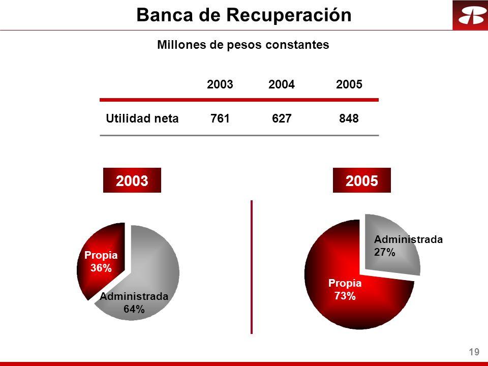 19 Banca de Recuperación Utilidad neta 20032005 Propia 73% Administrada 27% Millones de pesos constantes 2003 761 2004 627 2005 848 Propia 36% Administrada 64%