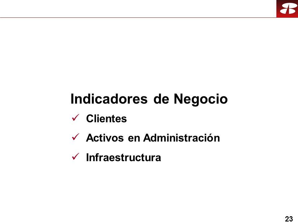 23 Indicadores de Negocio Clientes Activos en Administración Infraestructura