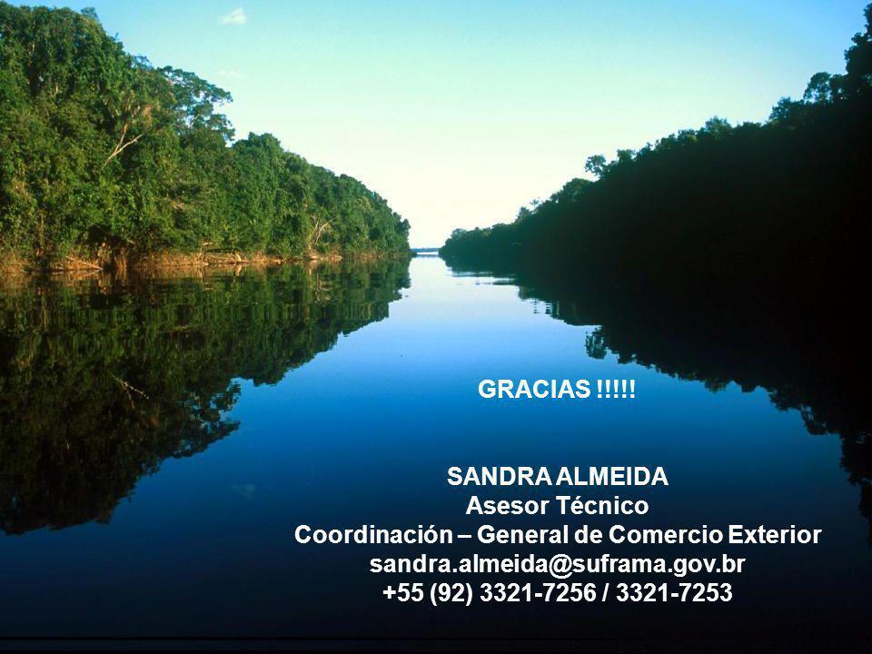 GOVERNO DO ESTADO DO AMAZONAS www.amazonas.am.gov.br OBRIGADO. GRACIAS !!!!! SANDRA ALMEIDA Asesor Técnico Coordinación – General de Comercio Exterior