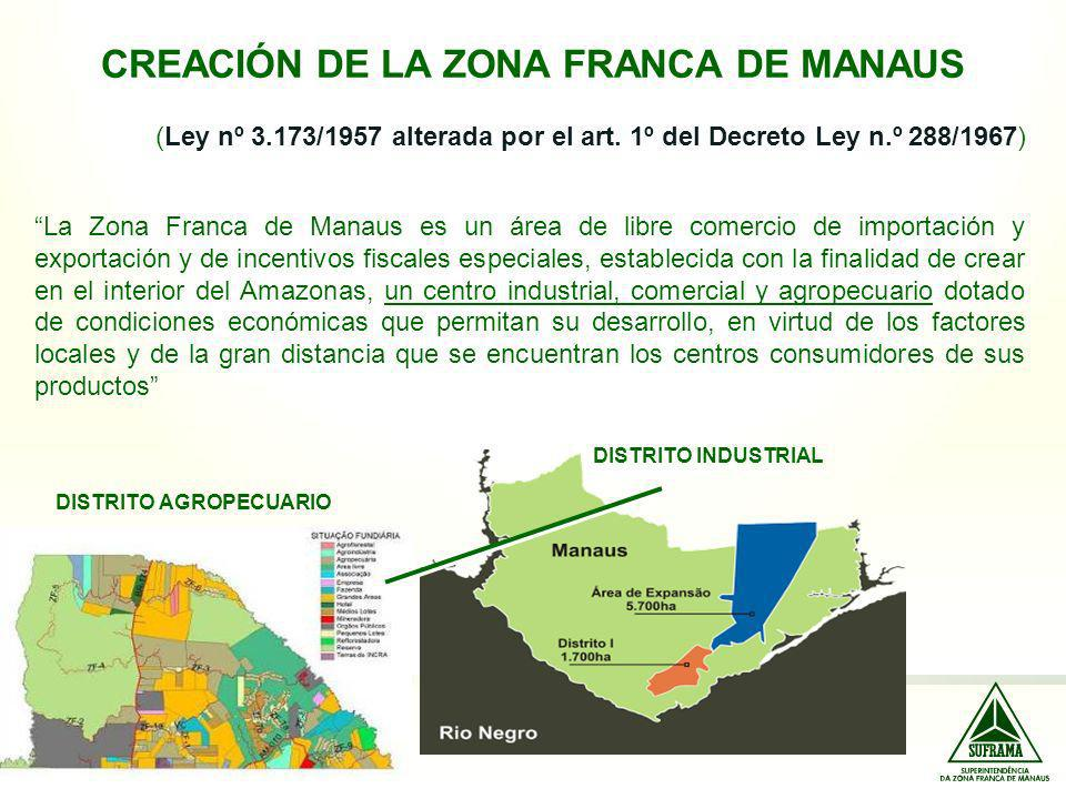CREACIÓN DE LA ZONA FRANCA DE MANAUS (Ley nº 3.173/1957 alterada por el art. 1º del Decreto Ley n.º 288/1967) La Zona Franca de Manaus es un área de l