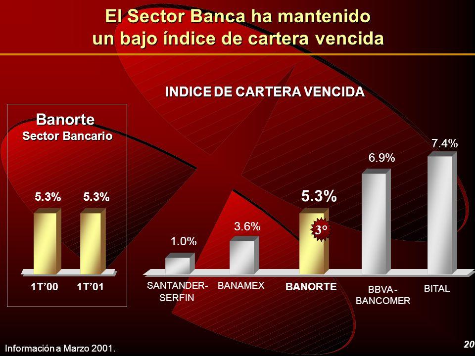 20 INDICE DE CARTERA VENCIDA Información a Marzo 2001. BANAMEX BITAL BBVA - BANCOMER BANORTE SANTANDER- SERFIN 1.0% 3.6% 5.3% 6.9% 7.4% 3° 1T01 5.3% 1