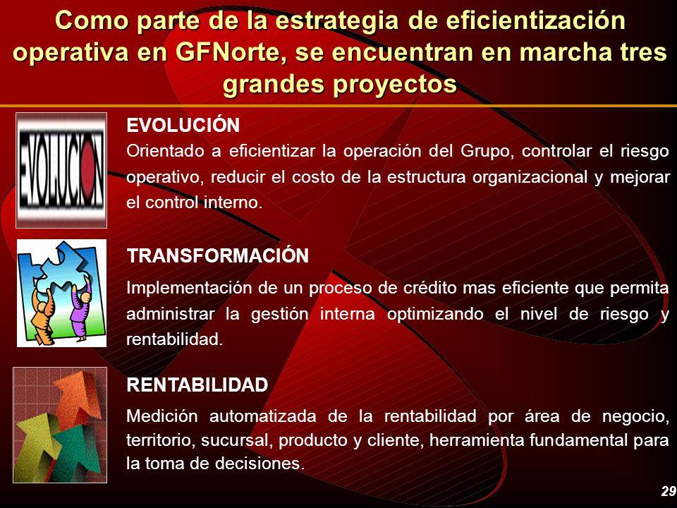 29 EVOLUCIÓN Orientado a eficientizar la operación del Grupo, controlar el riesgo operativo, reducir el costo de la estructura organizacional y mejora