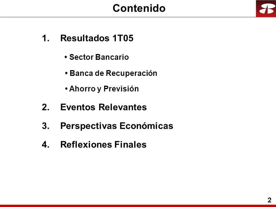 2 Contenido 1.Resultados 1T05 Sector Bancario Banca de Recuperación Ahorro y Previsión 2.Eventos Relevantes 3.Perspectivas Económicas 4.Reflexiones Finales