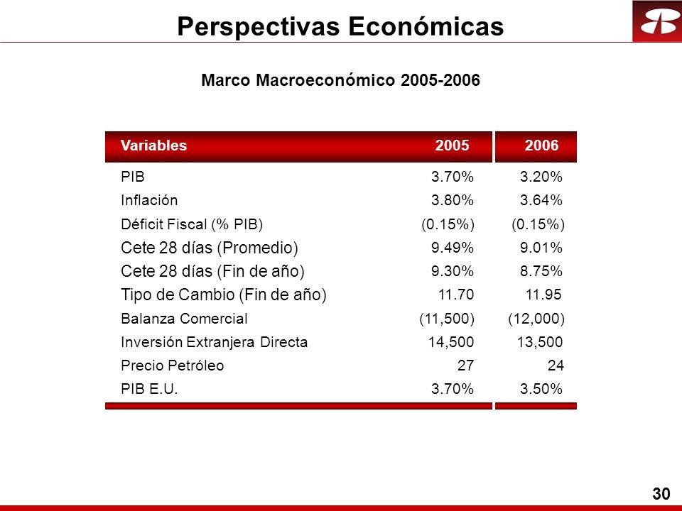 30 Perspectivas Económicas Variables20052006 PIB3.70%3.20% Inflación3.80%3.64% Cete 28 días (Promedio) 9.49%9.01% Cete 28 días (Fin de año) 9.30%8.75% Tipo de Cambio (Fin de año) 11.7011.95 Balanza Comercial(11,500)(12,000) Inversión Extranjera Directa14,50013,500 Precio Petróleo2724 PIB E.U.3.70%3.50% Déficit Fiscal (% PIB)(0.15%) Marco Macroeconómico 2005-2006