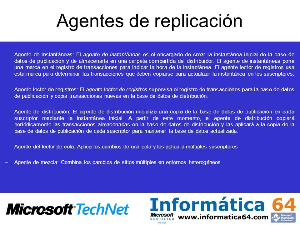 –Agente de instantáneas: El agente de instantáneas es el encargado de crear la instantánea inicial de la base de datos de publicación y de almacenarla