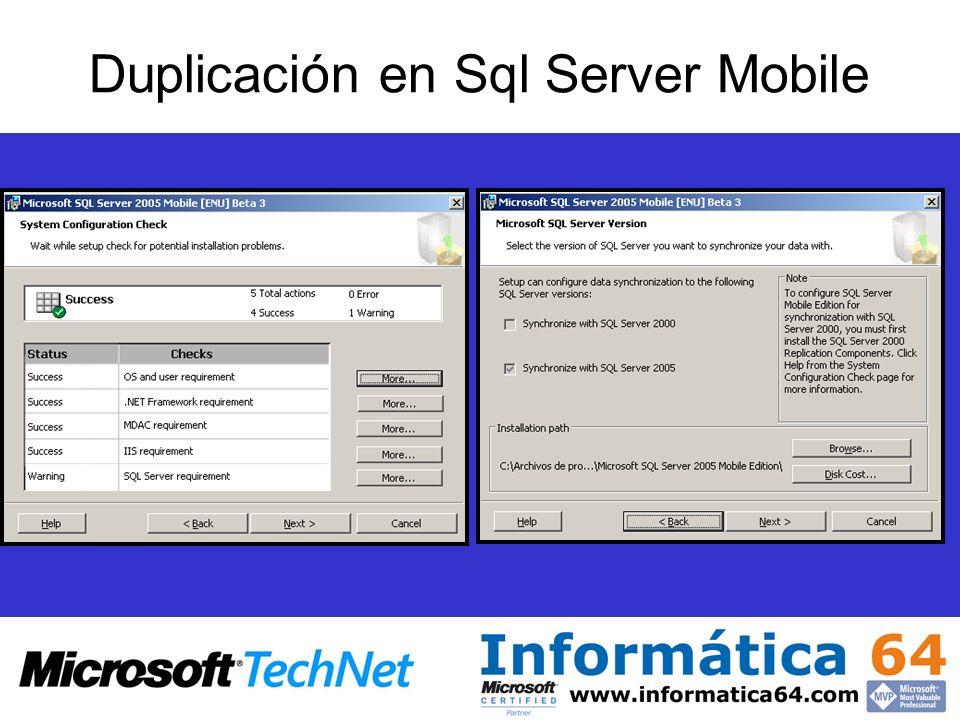 Duplicación en Sql Server Mobile