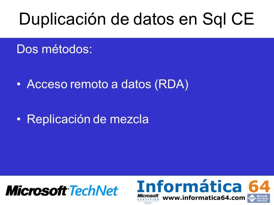 Duplicación de datos en Sql CE Dos métodos: Acceso remoto a datos (RDA) Replicación de mezcla