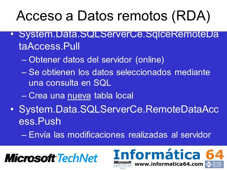 System.Data.SQLServerCe.SqlceRemoteDa taAccess.Pull –Obtener datos del servidor (online) –Se obtienen los datos seleccionados mediante una consulta en