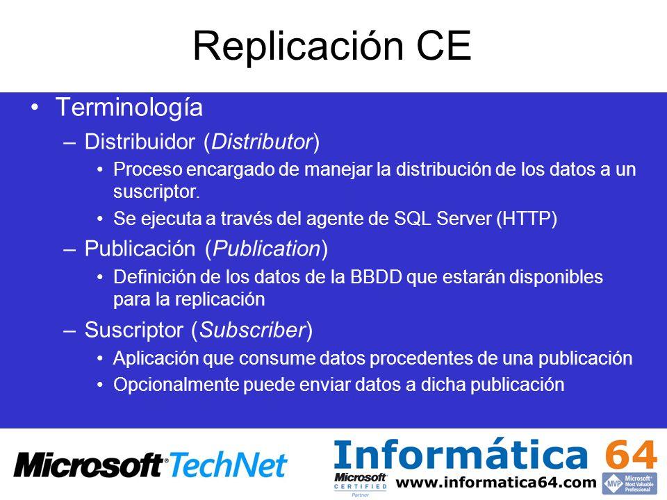 Terminología –Distribuidor (Distributor) Proceso encargado de manejar la distribución de los datos a un suscriptor. Se ejecuta a través del agente de