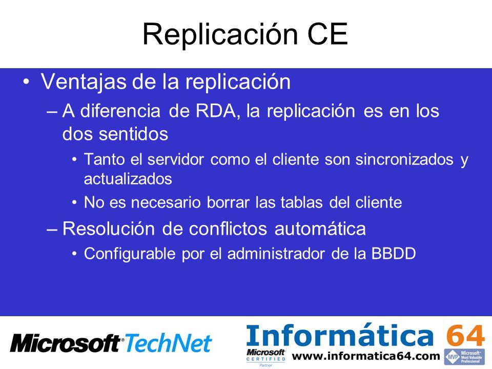 Replicación CE Ventajas de la replicación –A diferencia de RDA, la replicación es en los dos sentidos Tanto el servidor como el cliente son sincroniza