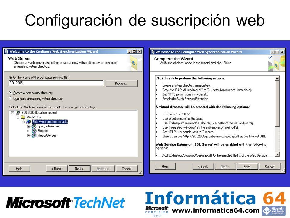 Configuración de suscripción web