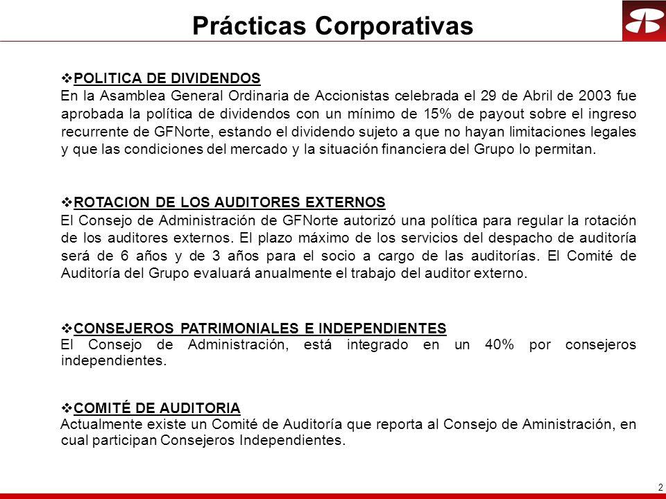 2 POLITICA DE DIVIDENDOS En la Asamblea General Ordinaria de Accionistas celebrada el 29 de Abril de 2003 fue aprobada la política de dividendos con u