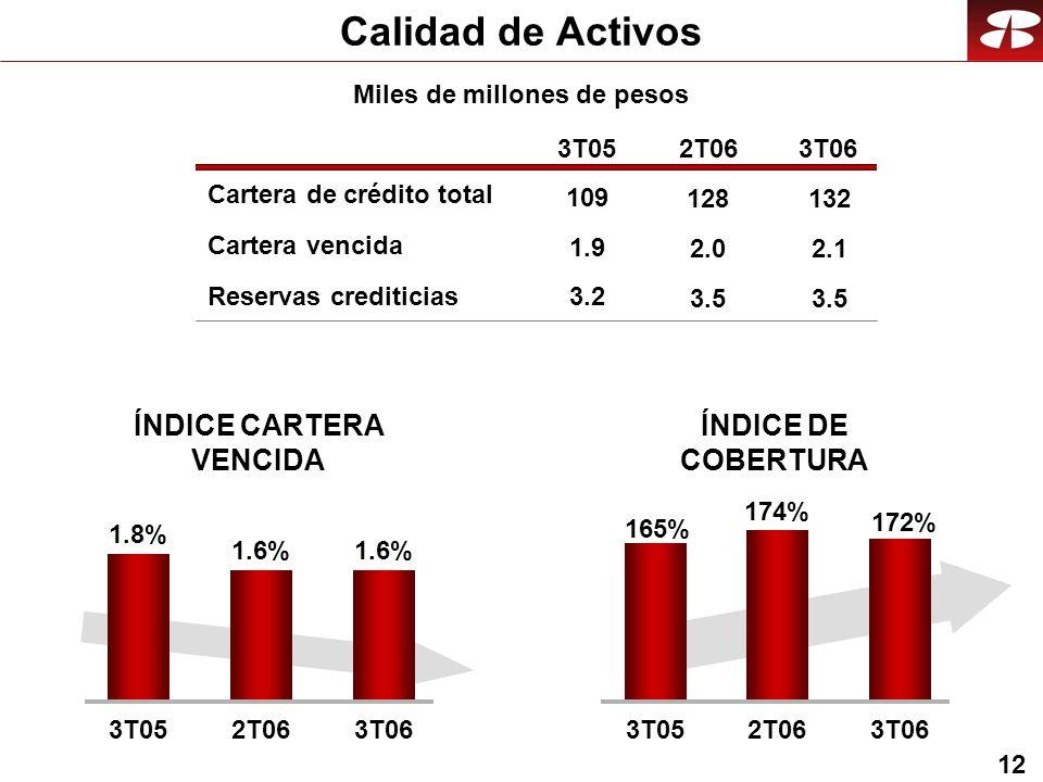 12 Calidad de Activos Cartera vencida Reservas crediticias 3T052T063T06 ÍNDICE DE COBERTURA 1.9 3.2 ÍNDICE CARTERA VENCIDA 172% 165% 174% 3T052T063T06 1.6% 1.8% 1.6% 3T052T063T06 Cartera de crédito total 109 2.0 3.5 128 2.1 3.5 132 Miles de millones de pesos