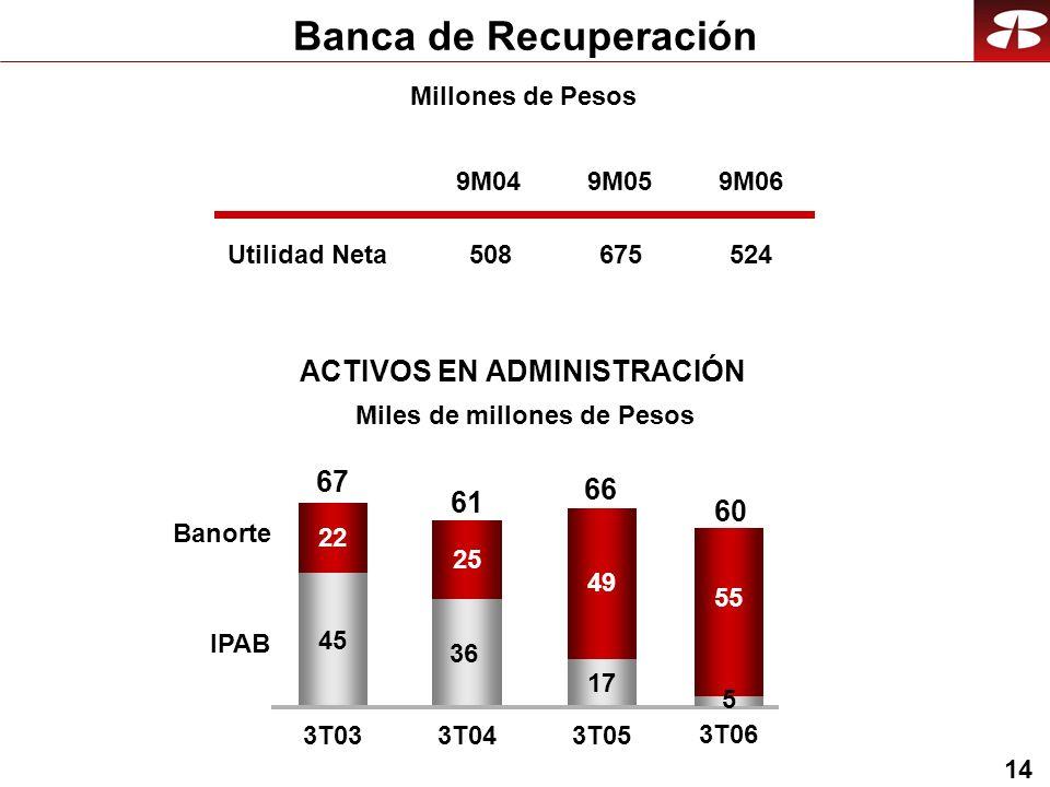 14 Millones de Pesos Banca de Recuperación Utilidad Neta ACTIVOS EN ADMINISTRACIÓN 9M04 508 9M05 675 9M06 524 45 36 17 22 25 49 3T033T04 3T05 Banorte