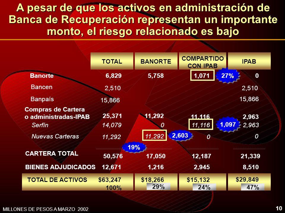 10 MILLONES DE PESOS A MARZO 2002 2,603 Banorte TOTAL 6,829 BIENES ADJUDICADOS12,671 TOTAL DE ACTIVOS$63,247 100% Bancen Banpaís 2,510 15,866 Serfín N