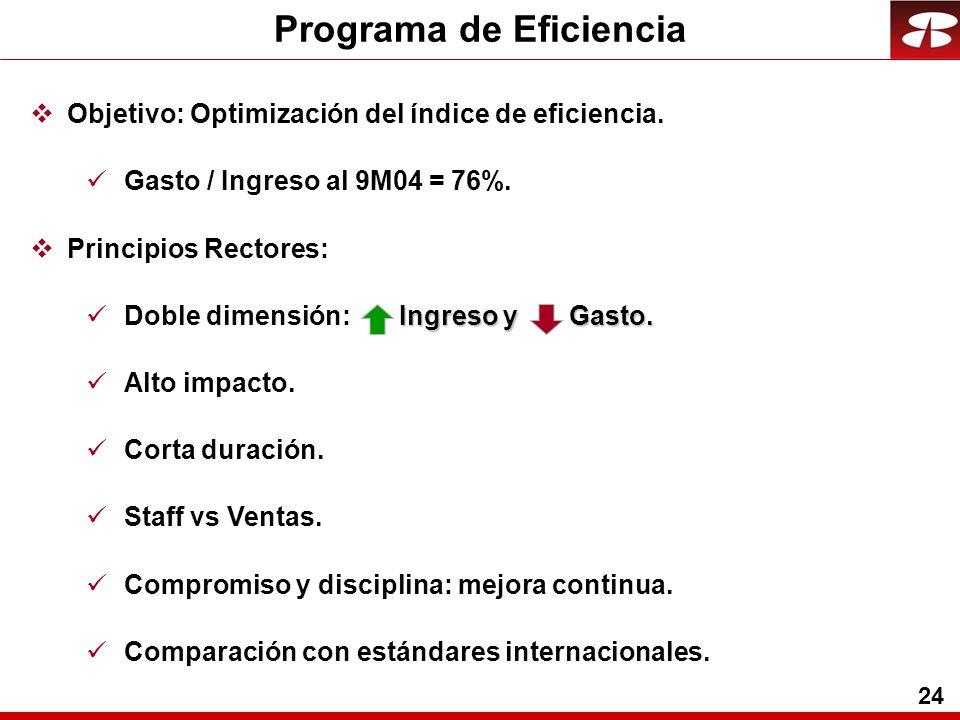 24 Programa de Eficiencia Objetivo: Optimización del índice de eficiencia. Gasto / Ingreso al 9M04 = 76%. Principios Rectores: Ingreso y Gasto. Doble