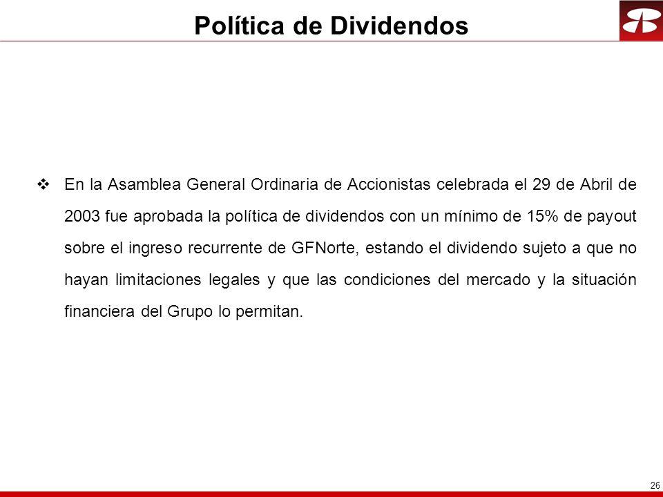 26 Política de Dividendos En la Asamblea General Ordinaria de Accionistas celebrada el 29 de Abril de 2003 fue aprobada la política de dividendos con
