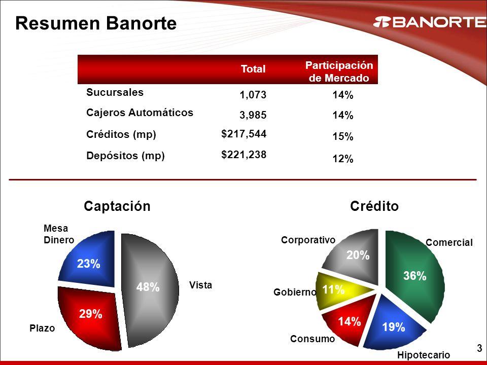 24 3.6% Banorte Bancos 6.1% 6.7% Banorte 8.0% Tendencias de la Industria TARJETA DE CREDITO Jun 07 Jun 08 Bancos 2.6% BanorteBancos 2.4% 1.5% Banorte 2.8% HIPOTECARIO Bancos Fuente: Banxico