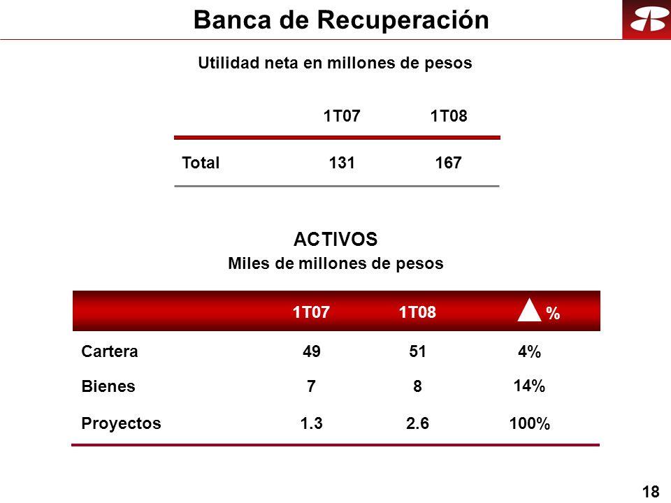 18 Banca de Recuperación Total 1T07 131 1T08 167 Utilidad neta en millones de pesos ACTIVOS Miles de millones de pesos 1T08 1T07 7 49 8 51Cartera Bienes % 14% 4% 1.32.6Proyectos 100%
