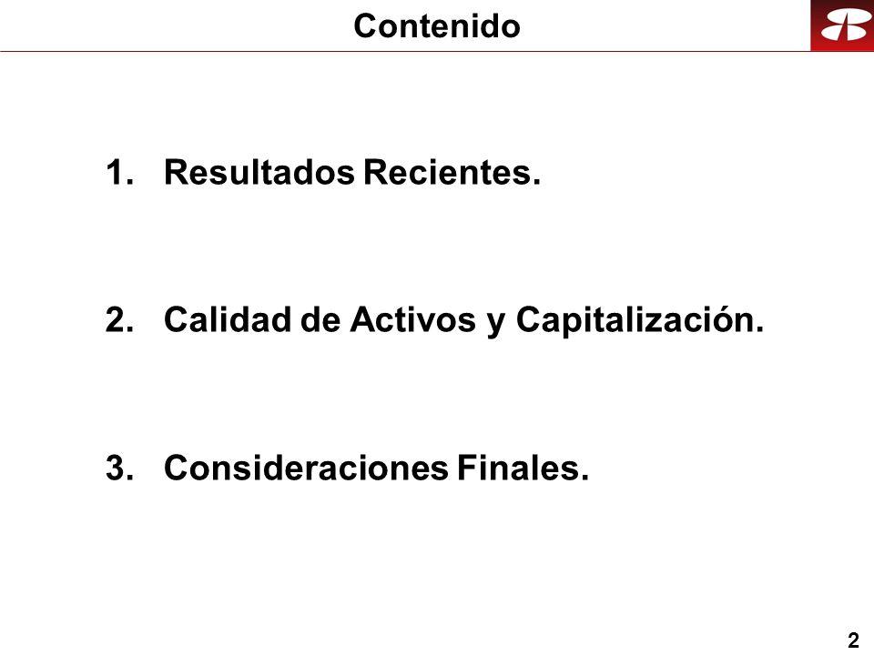 2 1.Resultados Recientes. 2.Calidad de Activos y Capitalización.