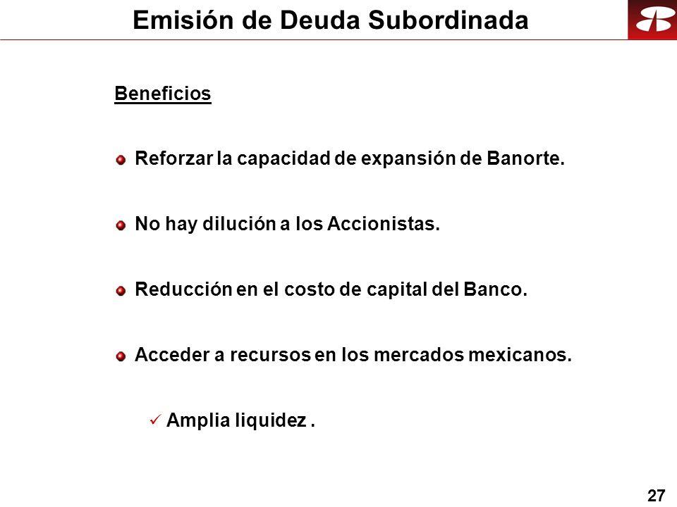 27 Beneficios Reforzar la capacidad de expansión de Banorte.