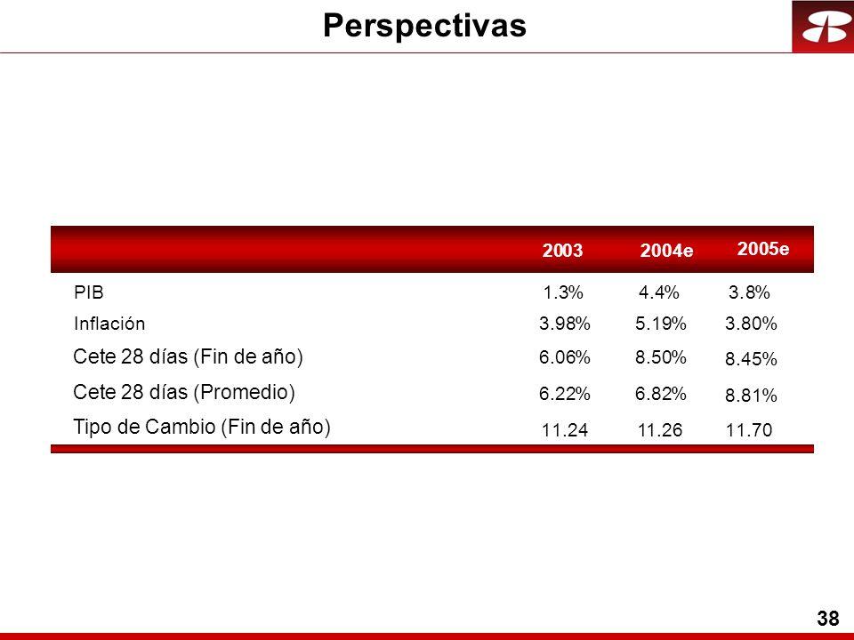 38 2003 PIB1.3% Inflación3.98% 6.06% 6.22% 11.24 2004e 4.4% 5.19% 8.50% 6.8282% 11.26 2005e 3.8% 3.80% 8.45% 8.81% 11.70 Perspectivas Cete 28 días (Fin de año) Cete 28 días (Promedio) Tipo de Cambio (Fin de año)