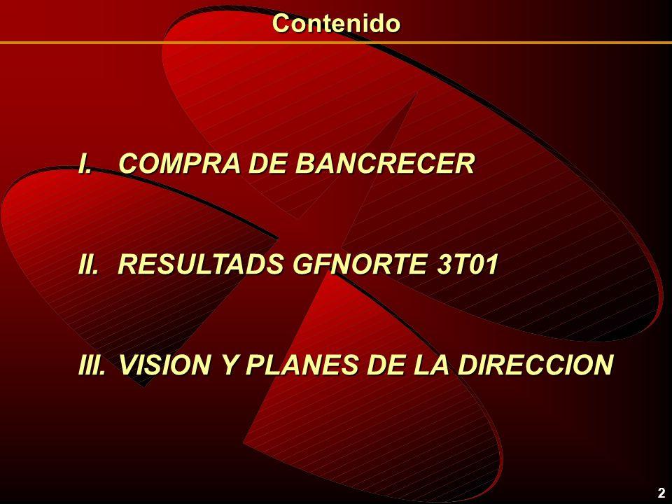 2 I. COMPRA DE BANCRECER II. RESULTADS GFNORTE 3T01 III. VISION Y PLANES DE LA DIRECCION Contenido