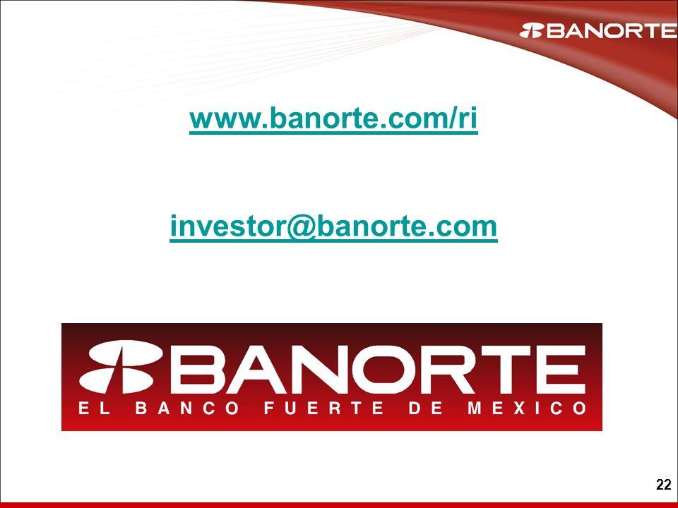 22 www.banorte.com/ri investor@banorte.com