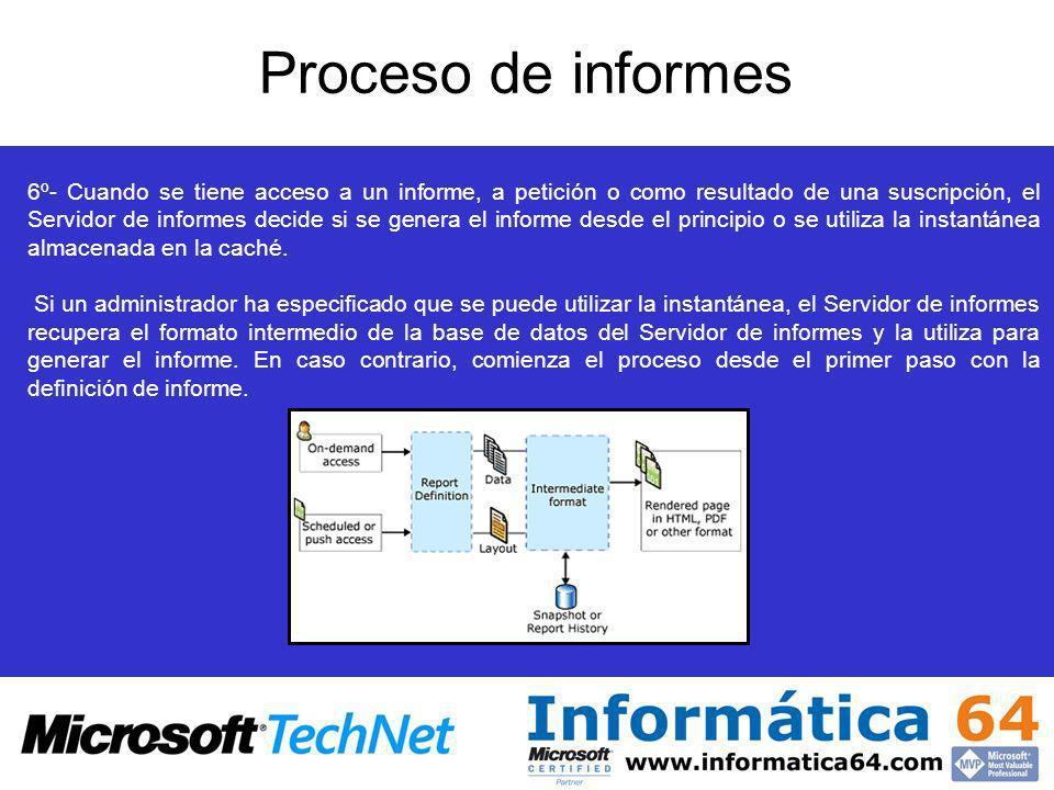 Proceso de informes 3º- El formato intermedio se guarda en la base de datos o se renderiza en otro formato 4º- Los informes se compilan como un ensamblado de CLR y se ejecutan en el servidor de informes 5º- El Servidor de informes puede utilizar el formato intermedio de diferentes maneras.