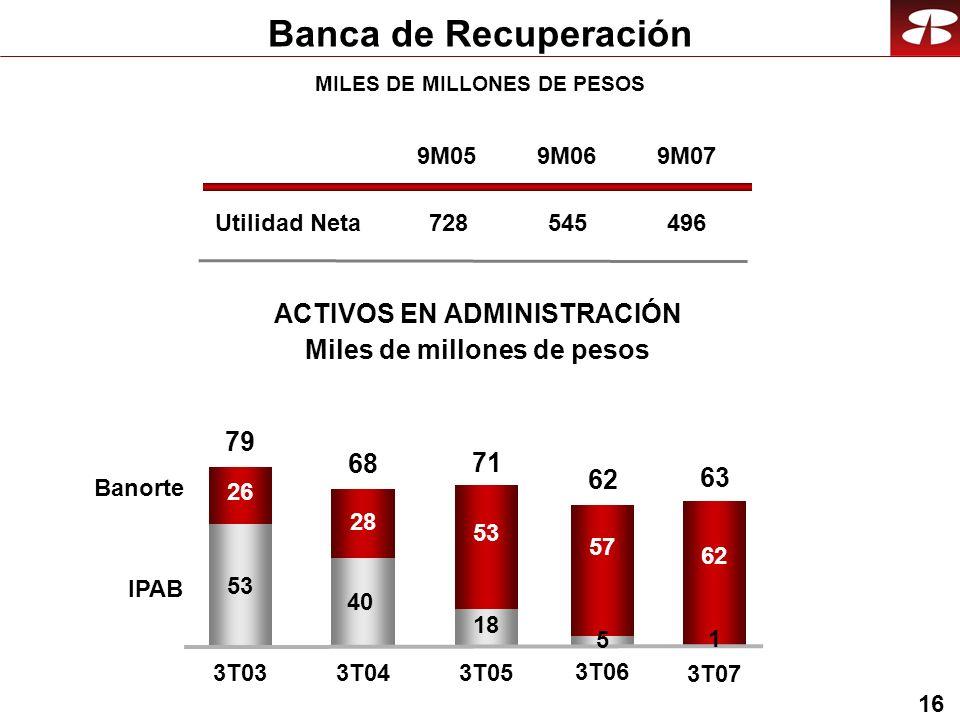 16 Utilidad Neta Banca de Recuperación 9M05 728 9M06 545 9M07 496 53 40 18 26 28 53 3T033T04 3T05 Banorte IPAB 79 68 71 57 3T06 62 3T07 62 63 5 1 MILES DE MILLONES DE PESOS ACTIVOS EN ADMINISTRACIÓN Miles de millones de pesos