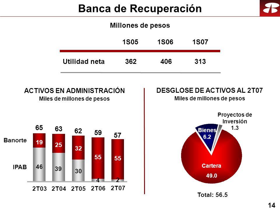 14 Banca de Recuperación Utilidad neta 1S05 362 1S06 406 1S07 313 Millones de pesos 46 39 30 19 25 32 2T032T04 2T05 Banorte IPAB 65 63 62 4 55 2T06 59 2 55 2T07 57 ACTIVOS EN ADMINISTRACIÓN Miles de millones de pesos Bienes 6.2 Cartera 49.0 Total: 56.5 Proyectos de Inversión 1.3 DESGLOSE DE ACTIVOS AL 2T07 Miles de millones de pesos