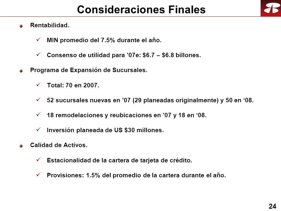 24 Consideraciones Finales Rentabilidad. MIN promedio del 7.5% durante el año. Consenso de utilidad para 07e: $6.7 – $6.8 billones. Programa de Expans
