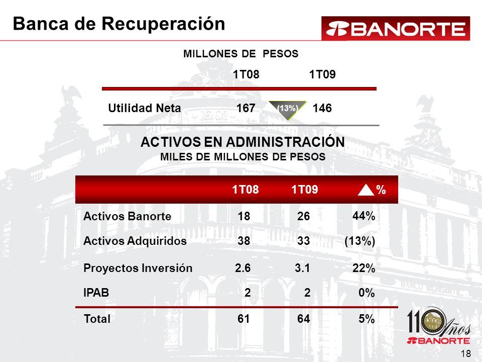 18 Utilidad Neta MILLONES DE PESOS ACTIVOS EN ADMINISTRACIÓN MILES DE MILLONES DE PESOS 1T091T08 Activos Banorte Activos Adquiridos % Proyectos Inversión Total IPAB 1T08 167 1T09 146 (13%) 38 18 33 26 (13%) 44% 2.63.1 22% 6164 5% 22 0% Banca de Recuperación