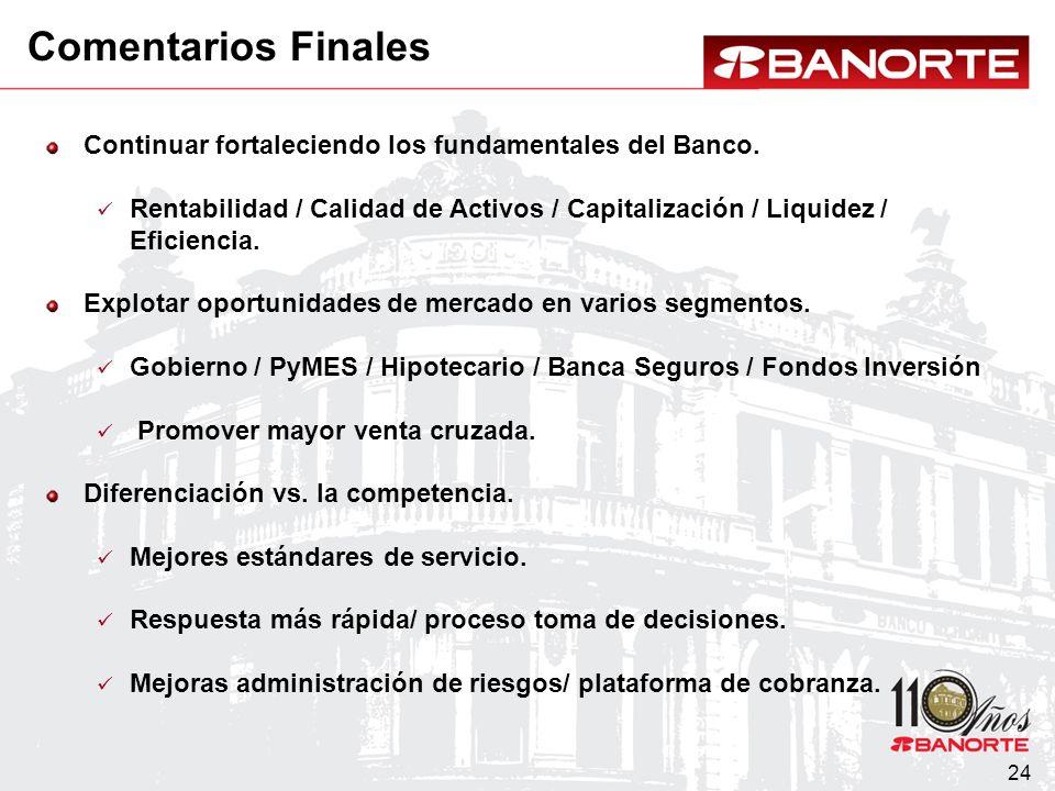 24 Continuar fortaleciendo los fundamentales del Banco.