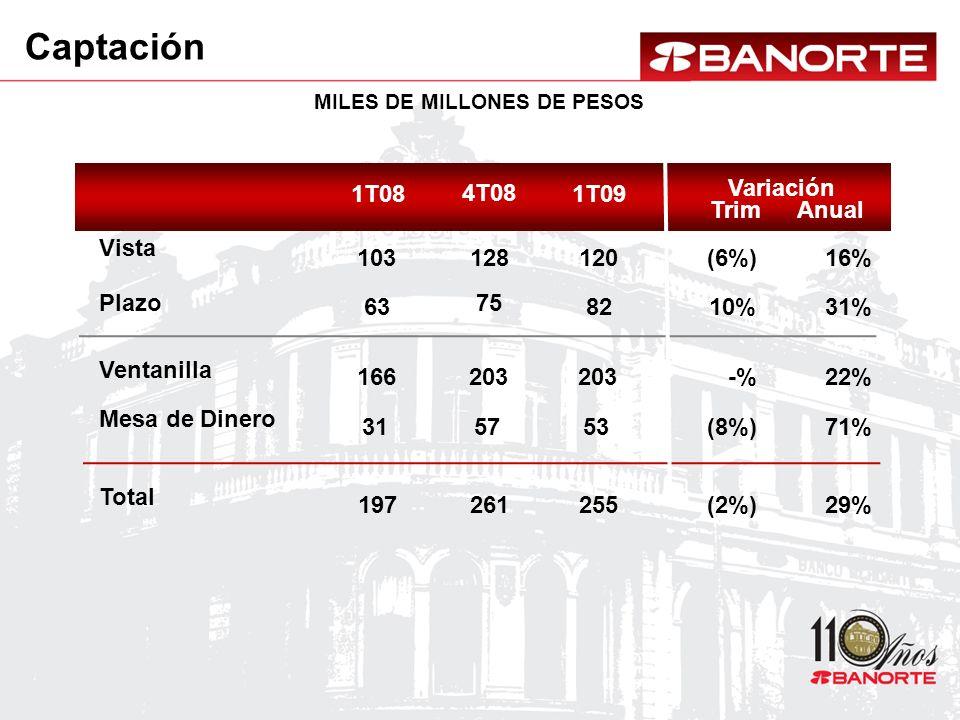 1T09 120 82 255 203 53 16% 31% 29% 22% 71% (6%) 10% (2%) -% (8%) 4T08 128 75 261 203 57 1T08 103 63 197 166 31 Captación MILES DE MILLONES DE PESOS Variación AnualTrim Vista Plazo Total Ventanilla Mesa de Dinero