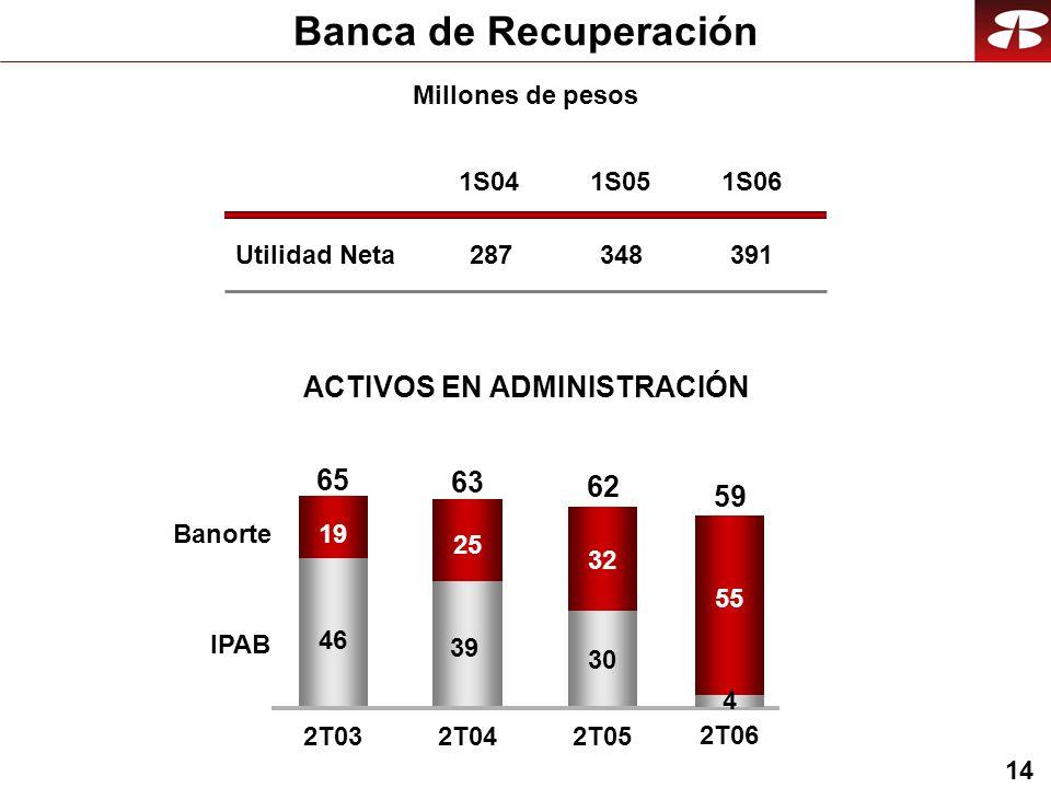 14 Banca de Recuperación Utilidad Neta 1S04 287 1S05 348 1S06 391 Millones de pesos ACTIVOS EN ADMINISTRACIÓN 46 39 30 19 25 32 2T032T04 2T05 Banorte