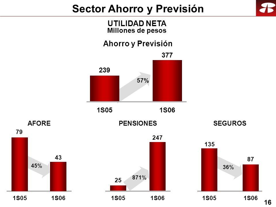 16 Sector Ahorro y Previsión UTILIDAD NETA Millones de pesos AFORE 79 43 1S051S06 SEGUROS 135 87 1S051S06 36% PENSIONES 25 247 1S051S06 871% Ahorro y Previsión 239 377 1S051S06 57% 45%