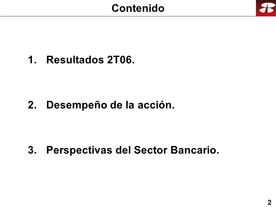 2 1.Resultados 2T06. 2.Desempeño de la acción. 3.Perspectivas del Sector Bancario. Contenido