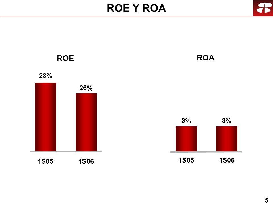 5 ROE Y ROA ROE ROA 1S05 3%3%3% 1S06 26% 1S06 28% 1S05