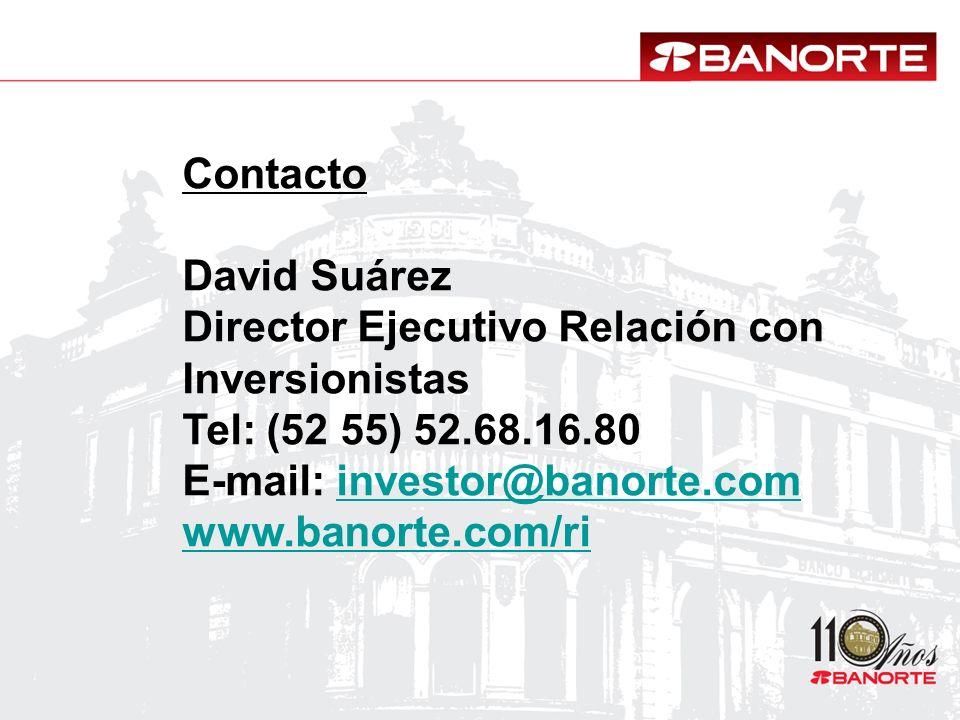 Contacto David Suárez Director Ejecutivo Relación con Inversionistas Tel: (52 55) 52.68.16.80 E-mail: investor@banorte.cominvestor@banorte.com www.ban