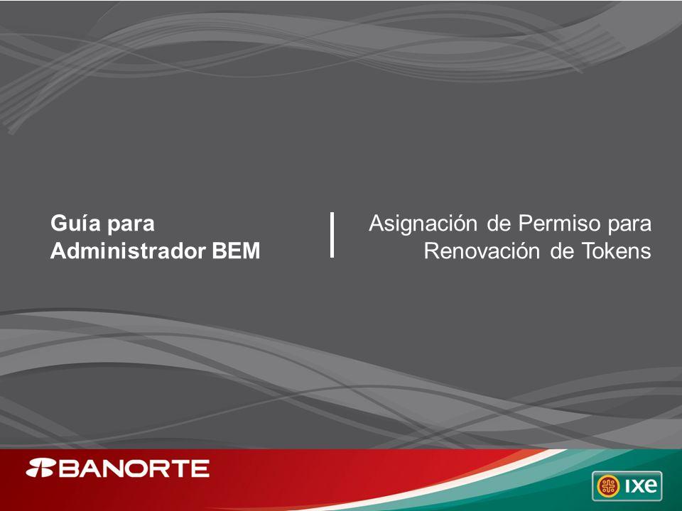 Guía para Administrador BEM Asignación de Permiso para Renovación de Tokens