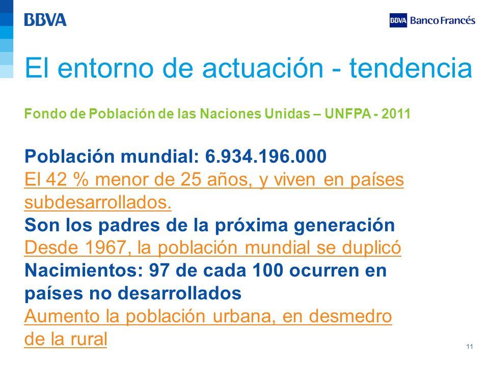 11 Fondo de Población de las Naciones Unidas – UNFPA - 2011 Población mundial: 6.934.196.000 El 42 % menor de 25 años, y viven en países subdesarrolla
