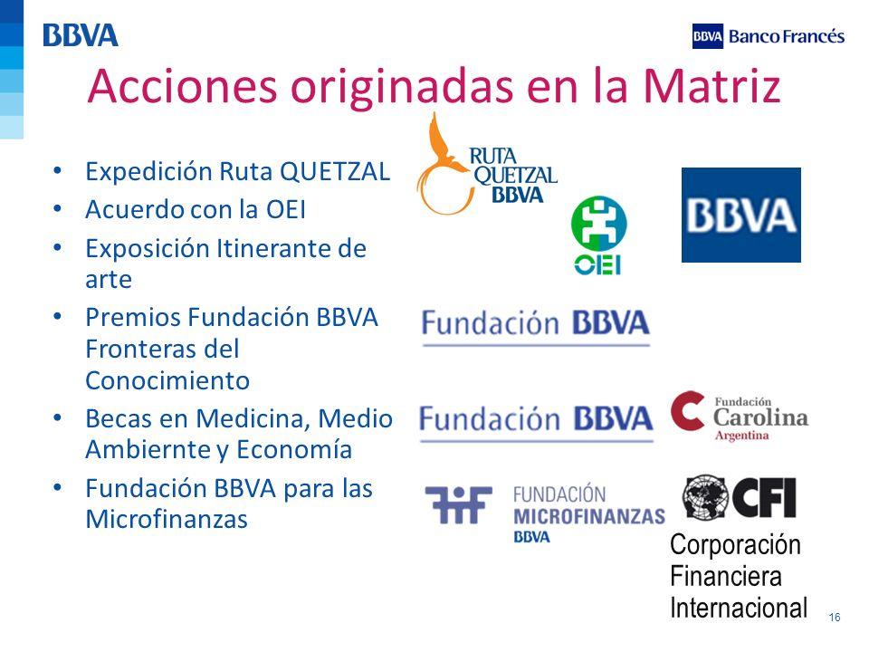 16 Acciones originadas en la Matriz Expedición Ruta QUETZAL Acuerdo con la OEI Exposición Itinerante de arte Premios Fundación BBVA Fronteras del Cono