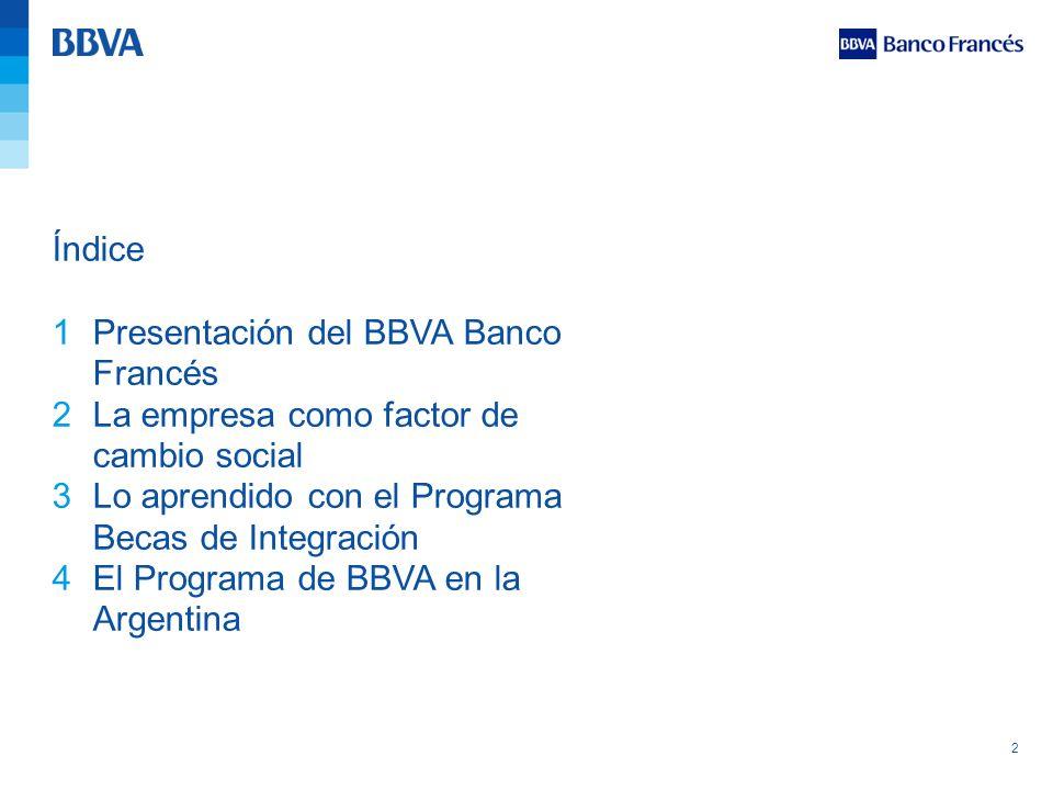 2 Índice 1Presentación del BBVA Banco Francés 2La empresa como factor de cambio social 3Lo aprendido con el Programa Becas de Integración 4El Programa
