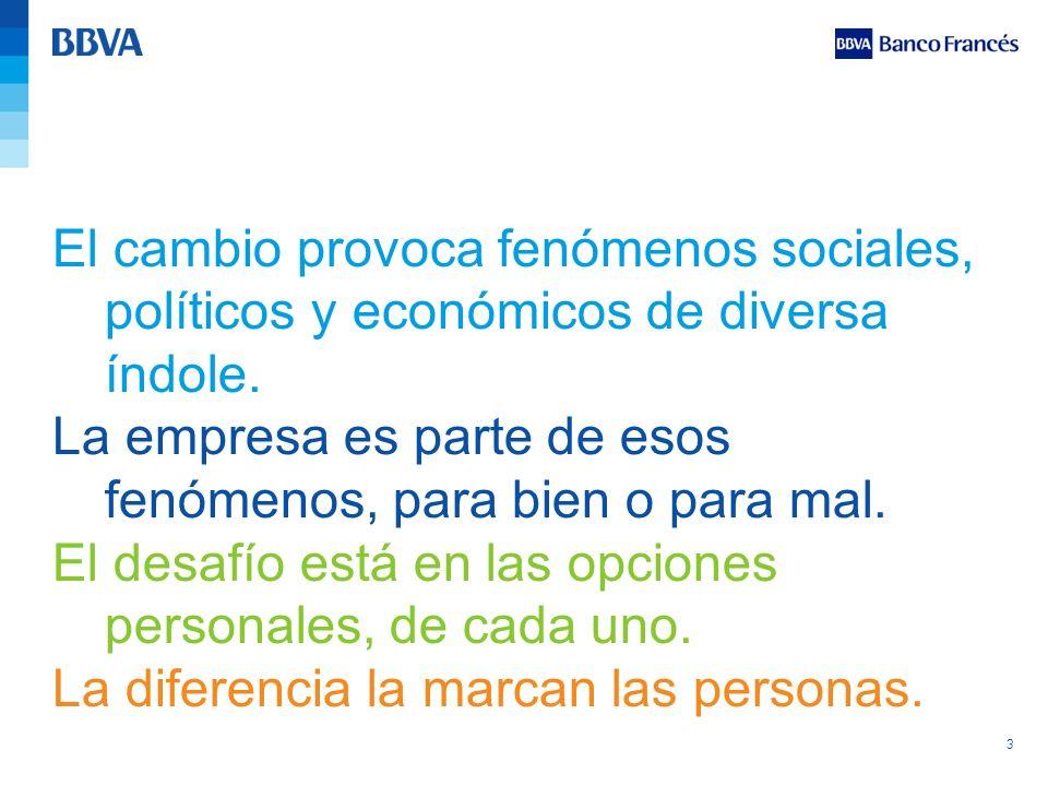 3 El cambio provoca fenómenos sociales, políticos y económicos de diversa índole. La empresa es parte de esos fenómenos, para bien o para mal. El desa