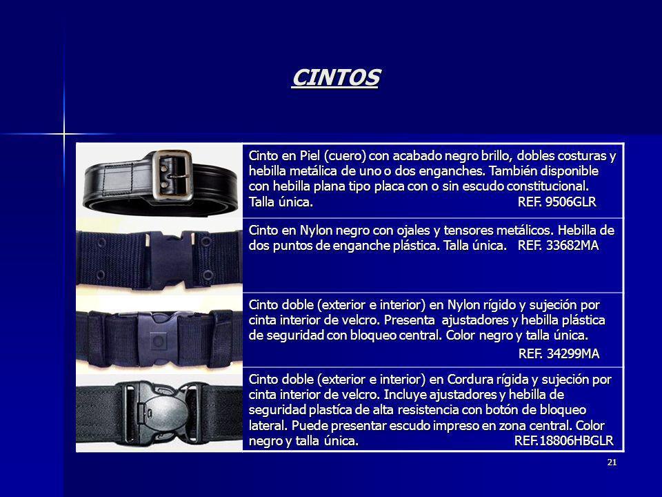 21 CINTOS Cinto en Piel (cuero) con acabado negro brillo, dobles costuras y hebilla metálica de uno o dos enganches. También disponible con hebilla pl